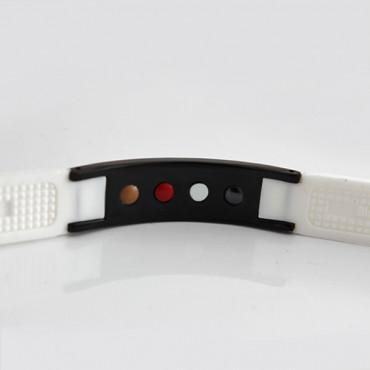 Белый турмалиновый браслет с 24 кристаллами, из титана, анионов, с магнитом и ИК-камнем