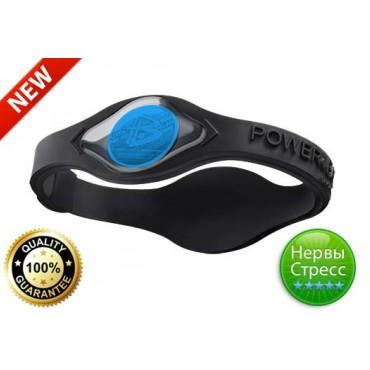 Чёрный браслет Power Balance с синей голограммой антистресс