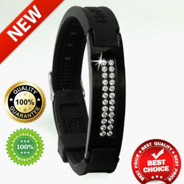 Черный турмалиновый браслет с 24 кристаллами, из титана, анионов, с магнитом и ИК-камнем