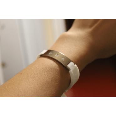 Белый турмалиновый браслет c магнитом и анионами